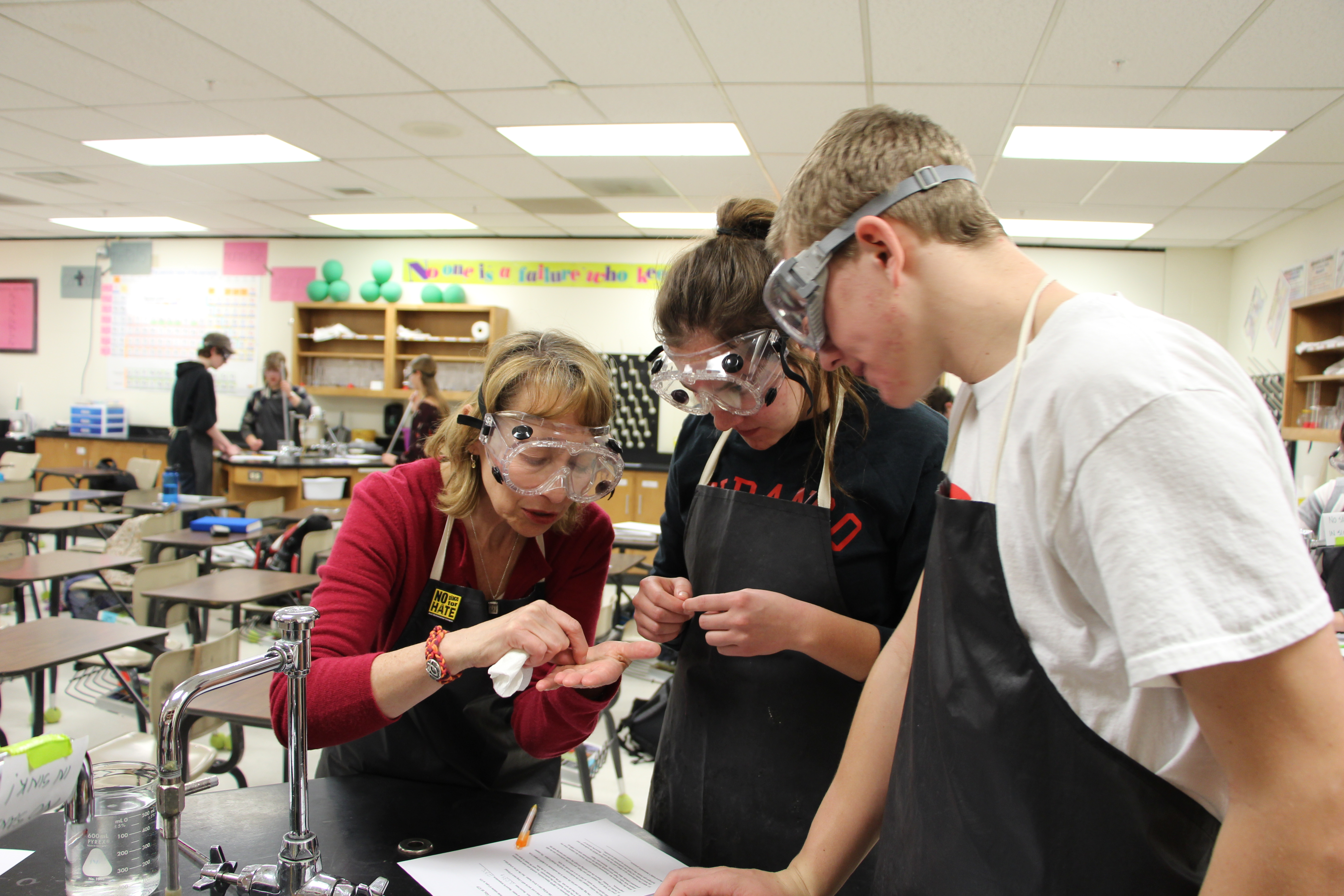 Students and teacher in an AP Chemistry class.